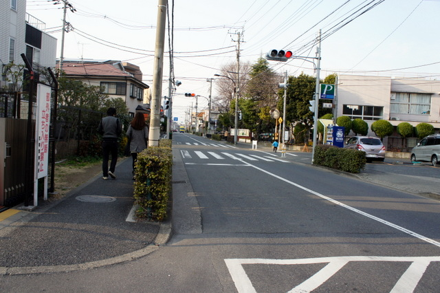 弦巻営業所から世田谷通り方面 右手は松丘小学校。