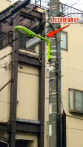 区のLED街路灯